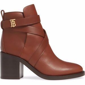 NIB BURBERRY Pryle TB Monogram Block Heel Bootie